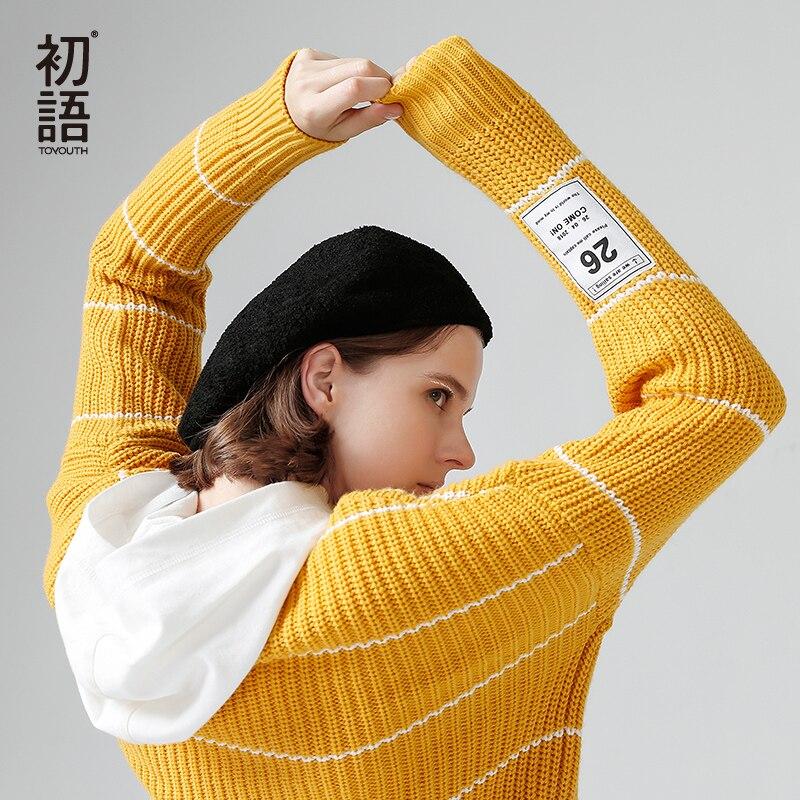 Toyouth осень с длинным рукавом в полоску вязаный свитер сгущать шеи экипажа свободные пуловеры корейский стиль Для женщин кардиган Тянуть Рок...