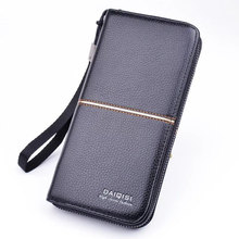 New fashion luxury male Leather Purse Mens Clutch Wallets Handy Bags Business Men Black Brown Dollar Price B34