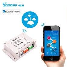 ITEAD sonoff 4CH переключатель Wi-Fi 4-банды 4-способ монтажа на din-рейку на/от Wi-Fi Дистанционное управление Беспроводной переключатель для Умный дом 10A/2200 Вт