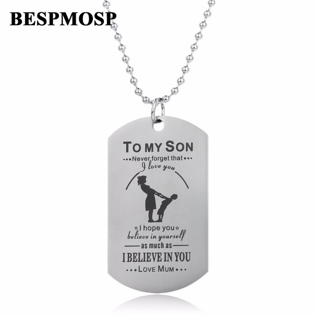 Bespmosp never forget that i love you to my son tog tag pendant bespmosp never forget that i love you to my son tog tag pendant necklace stainless steel solutioingenieria Image collections