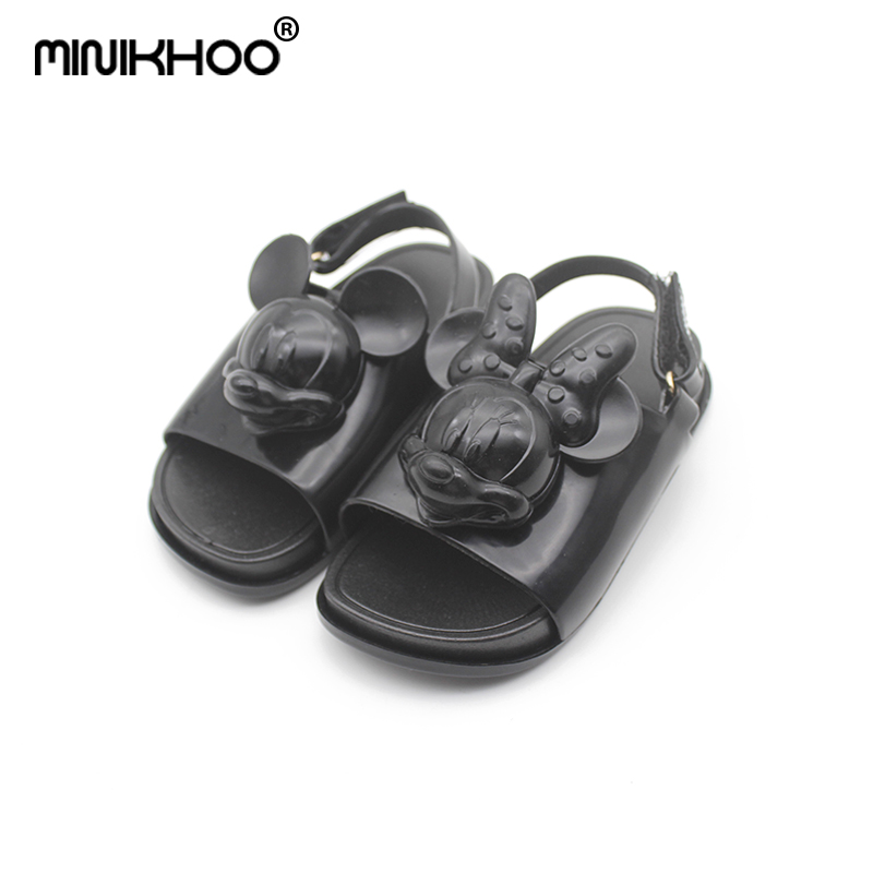 Mini Melissa 2018 New Black 3D Mickey Minnie Head Girl Jelly Sandals Baby Sandals Girl Beach Sandals 4 Color Childrens Sandals