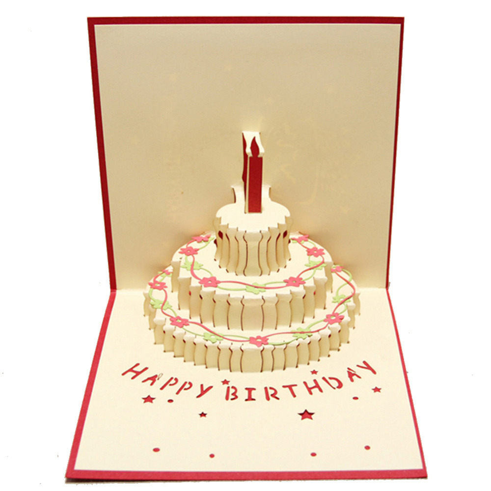 5pcslot Creative Diy 3d Happy Birthday Handicrafts Greeting Card