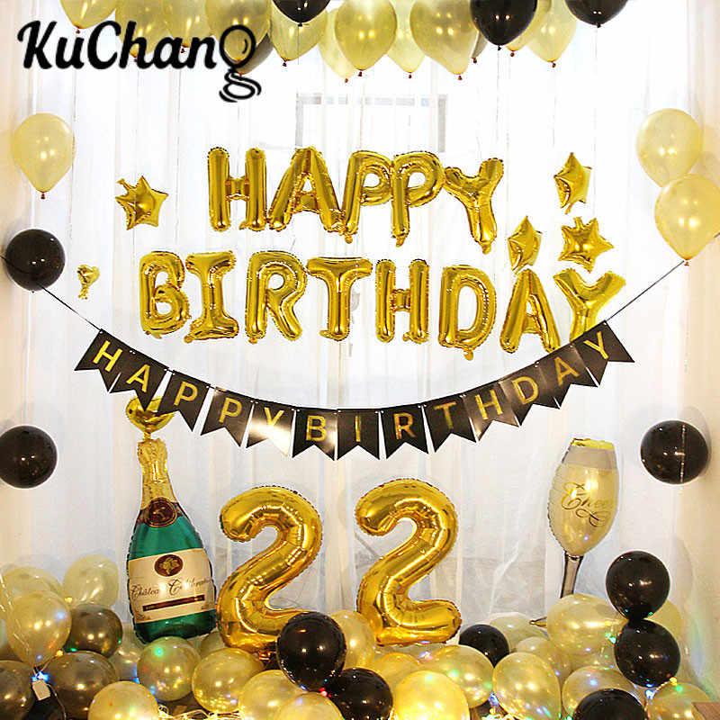 Feliz Aniversário Balão de Ar Letras Alphabe Ramadan Balões Folha Crianças Brinquedo Globos Partido Balão de Hélio da Festa de Aniversário de Casamento