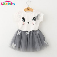 Keelorn Girl Dress 2017 Brand Girls Clothes Lovely Ice Cream Cone Print T Shirt Dress For