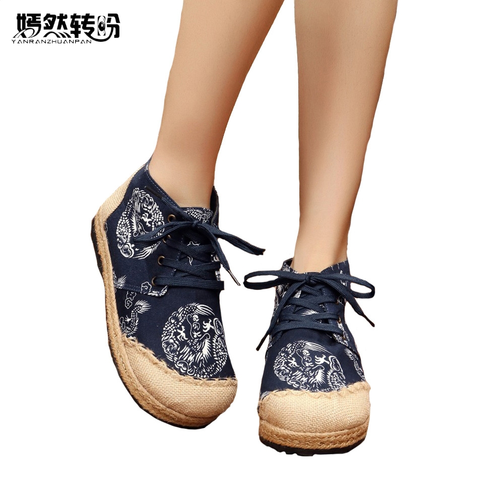 Women Shoes Vintage Dragon Print Embroidered Cotton Linen Canvas Cloth Single National Woven Round Toe Lace Up Flats vintage flats shoes women casual cotton peacock embroidered cloth flat ankle buckles ladies canvas platforms zapatos mujer