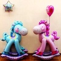 סוס טרויאני ילד תינוק קריקטורה גדולה לנער סוס מתקדם רדיד אלומיניום בלוני מסיבת יום הולדת חתונת קישוט צעצוע מתנפח