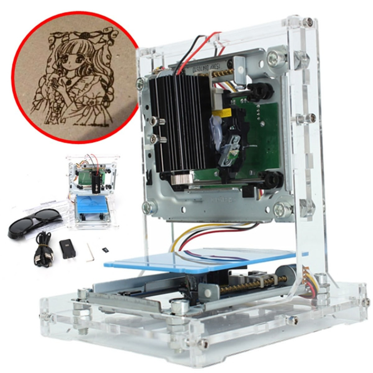 New 38 x 38mm Woodworking Engraving Machine JZ-5 500mW USB DIY Laser Printer Engraver Laser Engraving Machine