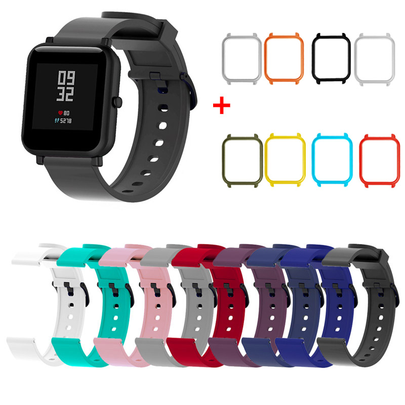 20mm Silicone Sport Wrist Strap Protective Case Cover Plastic PC Shell For Huami Xiaomi Amazfit Bip BIT PACE Lite Smart Watch M1