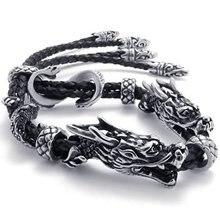 Men's Jewelry Bracelet Leather Stainless Steel Dragon Biker Black