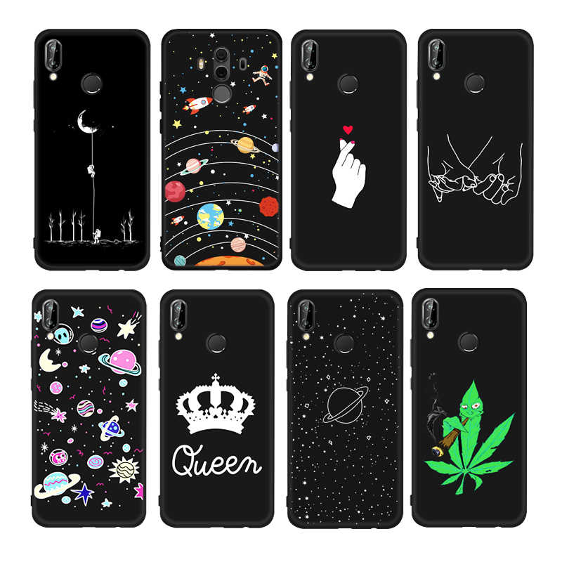 Painting TPU Pattern Case For Huawei Mate 20 Pro X 20X P20 Lite Mate 10 P10 P8 P9 Lite 2017 Matte Silicone Cover Moon Night Case
