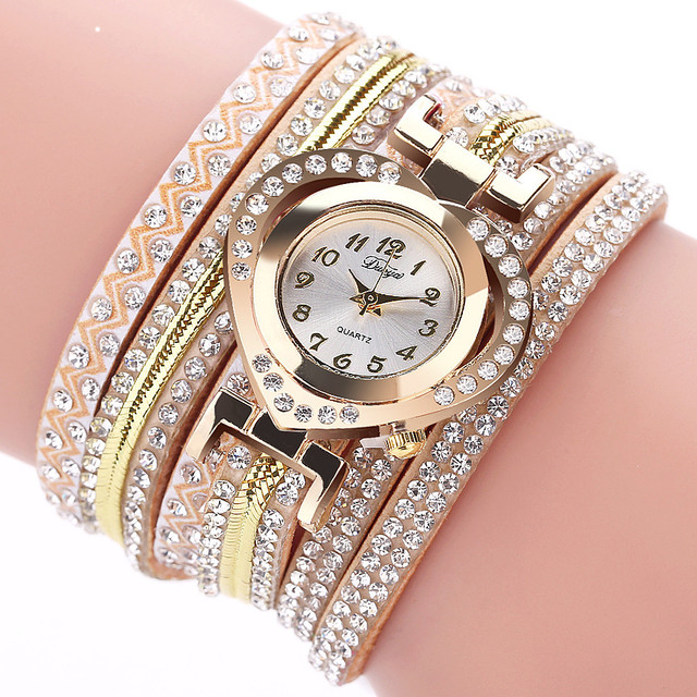 Fashion Women Bracelet Watch Luxury Dress Multilayer Leather Band Crystal Female