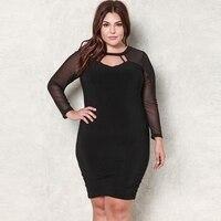 Fat MM Mesh Patchwork Mini Bandage Dress Women Long Sleeve Sexy Transparent Black Solid Runway Dress