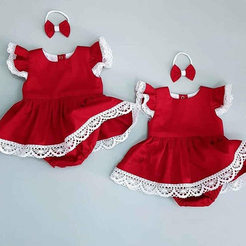 UK Newborn Baby Girl Lace Flower Romper Dress Jumpsuit Bodysuit Headband Outfits