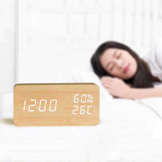 Sound Control LED Alarm Clocks Wooden Despertador Temperature Display Alarm Clock Electronic Desk Clock Digital Wood Table Clock