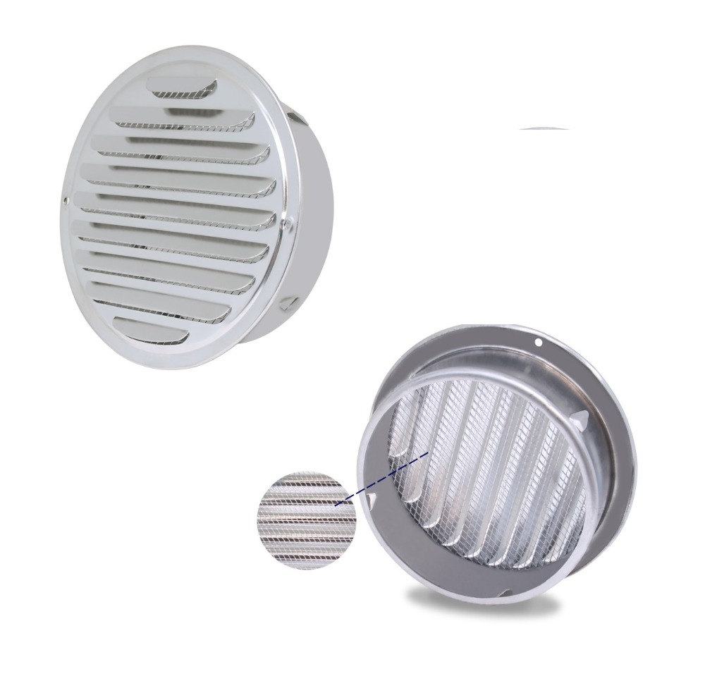 Premintehdw Stainless Steel Wall Air Vent Bathroom Extractor Outlet Grille Louvre Round Flat Grille Ducting Ventilation Cover