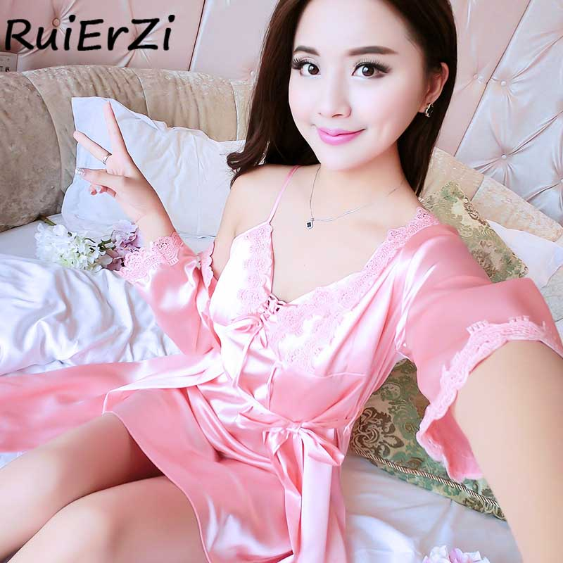 Sexy Silk Robe & Gowns Set Fashion Summer Lace-up Print Bowknot Belt Casual Two Piece Suspender Sleepwear + Bathing Robe