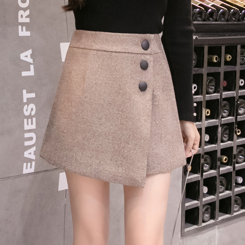 2019 Autumn Winter New Women Wool   Shorts   Korean Fashion Irregular High Waist   Shorts   Skirts Ladies Casual Woolen   Shorts