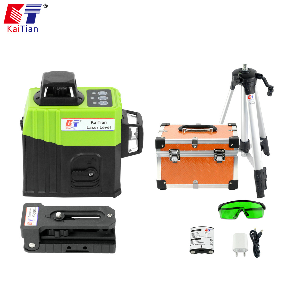цена на KaiTian 8 Line/Green/Laser Level Tripod EU Self-Leveling 360 Vertical 532nm Horizontal Laser Cross Beam Line Building Tool Level