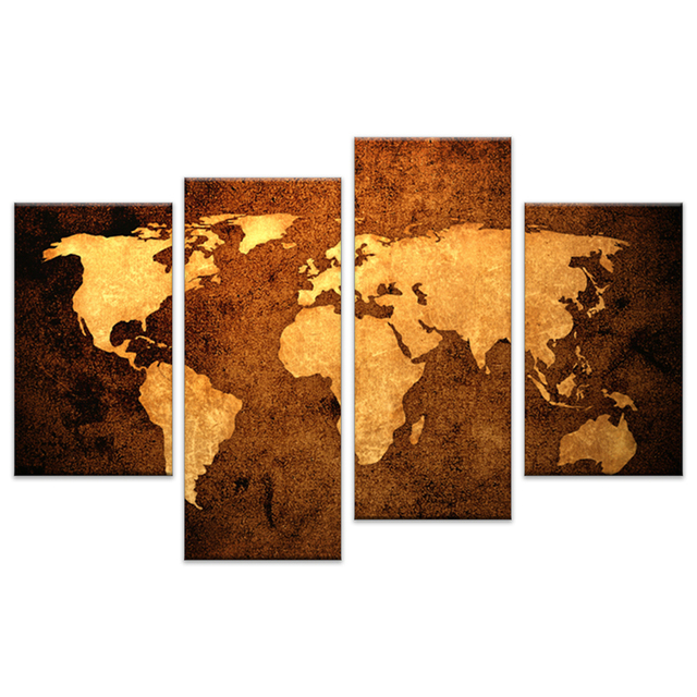 Gold world map canvas printed painting drop ship 4 pieces canvas gold world map canvas printed painting drop ship 4 pieces canvas wall art world map framed gumiabroncs