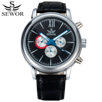 SEWOR Automatic Mechanical Watch Men Leather Band Self Wind Man Watches Montre Automatique Homme Reloj Automatico De Hombre