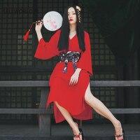2018 Woman Japanese Kimono Style Loose Solid V neck Thin Sexy Split Long Dress