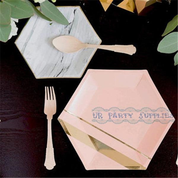 112pcs Modern u0026 Trendy Hexagonal Shaped Marble/Metallic Gold Paper Plates Pastel Pink Foil Gold & 112pcs Modern u0026 Trendy Hexagonal Shaped Marble/Metallic Gold Paper ...