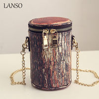 Personalized Fashion Stakes Wood Retro Styling Mini Bucket Chain Bag Ladies Novelty Tree Stump Messenger Bag Drums Casual Clutch