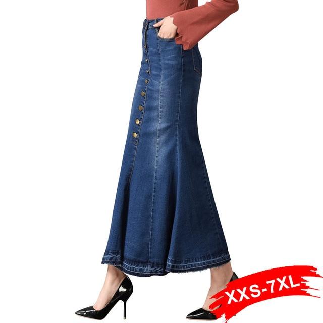 6f140c79b € 17.85 44% de DESCUENTO|Talla grande Flare Denim faldas largas botón hasta  4Xl 6Xl 7Xl mujeres de gran tamaño Sexy señora ceñido al tobillo ...