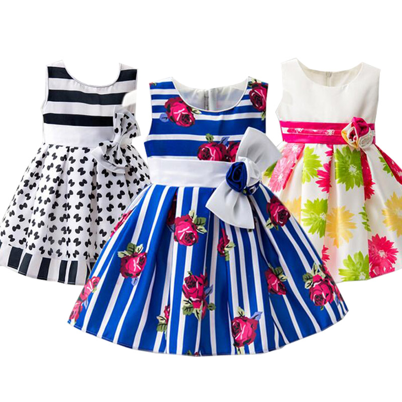 2017 Summer Dress Baby clothing Striped Style Brand Cotton Girls Dress Sundress Kids Frock Designs robe fille For 1 2 3 4 Years 2016 baby girl flutter sleeves summer birthday princess dress cotton frock designs teen kids clothing bulk clothes teenagers