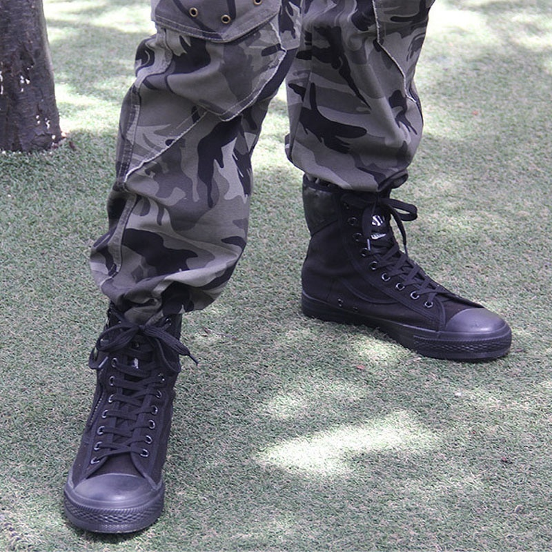 2018 Army Fashion Black Breathable Safety Shoes Work Protective Shoes Anti skid Wear Training Boots High in Motorcycle boots from Shoes