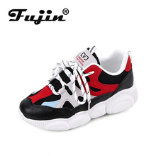 Fujin Old Shoes Women 2019 New Wild Students Thick-soled Cakes Mesh Breathable Casual Shoes Ins Super Fire Flat Shoes 881219329808 xtep old shoes men 2019 summer mesh breathable casual shoes students thick bottom old shoes