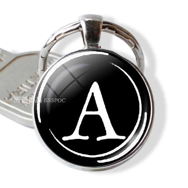 26 chữ ABCD Bạc Thư Keychain Vòng Glass Dome Vòng Chìa Khóa Mặt Dây Chuyền Vòng Chìa Khóa Đồ Trang Sức Thời Trang Phụ Kiện Món Quà Sinh Nhật