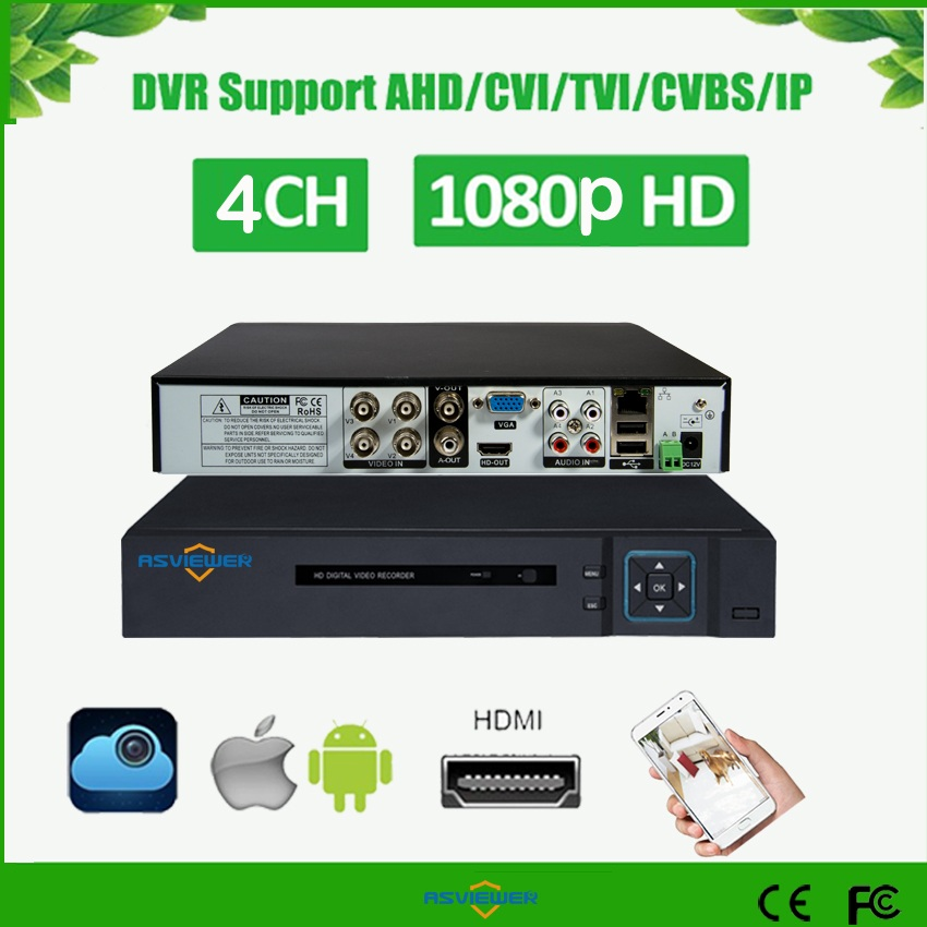 H.265 5 IN 1 AHD CVI TVI CVBS IP 4Ch 1080P Security CCTV DVR NVR XVR Hybrid Video Recorder Onvif 6TB P2P View AS-AVR3304F-265