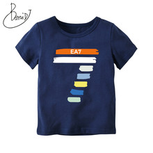 hot deal buy 2018 spring summer  kids tops tees striped short sleeve t shirt children casual baby boy fashion costumes sports tops 2-7 year