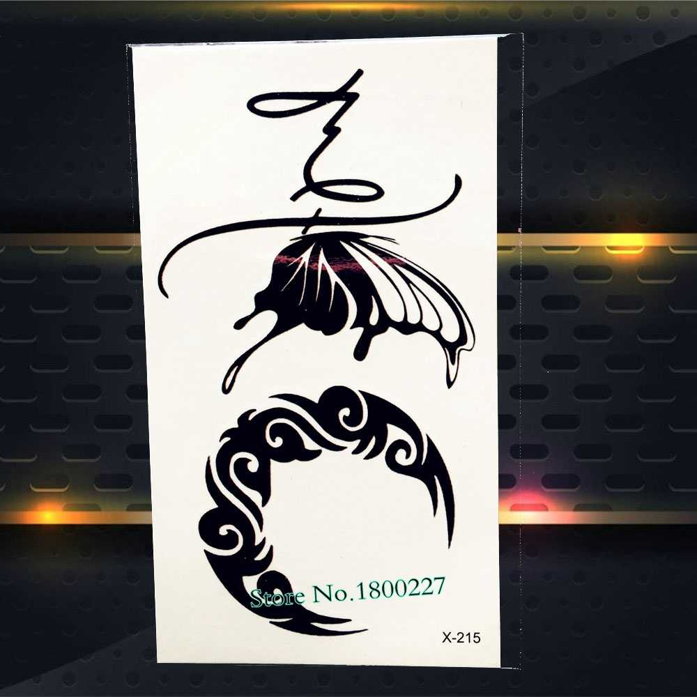1PC Cool Harajuku สีดำ Anchor TATTOO สำหรับชาย PAQ-176 ผู้หญิง Feather จดหมายแรงบันดาลใจชั่วคราว TATTOO สติกเกอร์โจรสลัดกัปตัน