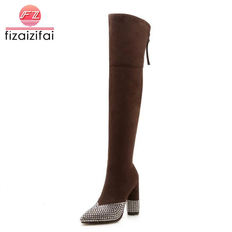 FizaiZifai Plus Size 33-46 Women Thigh High Boots Bling Crystal Warm Fur Winter Shoes Woman Sexy Fashion Zipper High Heel Boots bling pu leather women sexy boots high heels zipper shoes warm fur winter boots for women x1022 35
