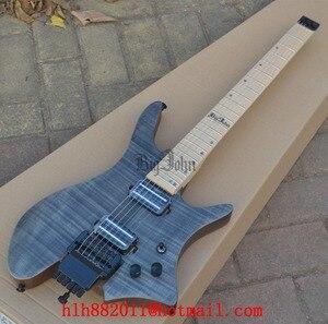 Электрическая гитара без головок, матовый серый пламенный клен, корпус из красного дерева, двойная дорожка, пикап, BJ-102