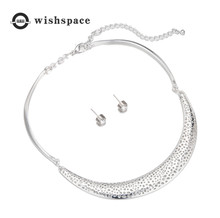 America and Europe pop exaggerated atmospheric alloy polishing brief paragraph earrings necklace set of jewelry