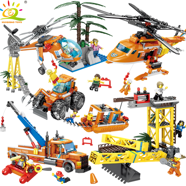 HUIQIBAO Toys 2in1 Rescue Helicopter Bulldozer tow Truck Building Blocks For Children Compatible Legoing City Coast Guard Bricks