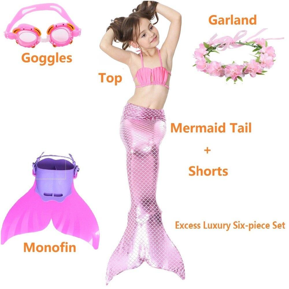 6PCS SET Children Mermaid Tail Costume Bikini Swimming swimsuit Mermaid Swim Mermaid Tail with Monofin for swimming Fin Cosplay