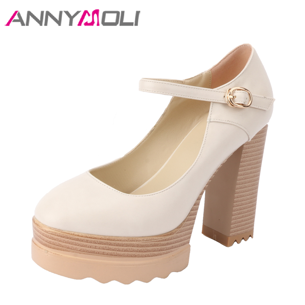 ANNYMOLI Women Pumps Extreme High Heels Party Mary Jane Platform Shoes Spring Block Heel Buckle Punk Shoes Pink Black Size 33-42 sexy fashion womens platform pumps strappy buckle high heels shoes big size shoes black beige yellow pink white