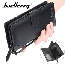 Baellery Men Leather Long Standard Wallets Coin Money Card Holder Phone Pocket Pouch Packet Bag Wallet For Male Bags