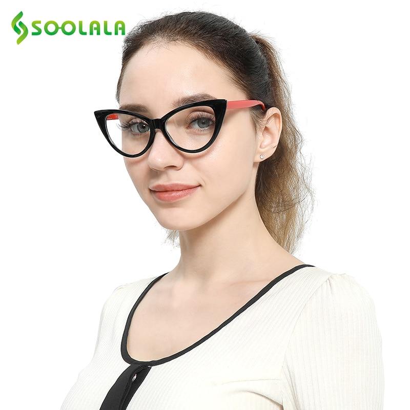 14246c02b058 SOOLALA Cheap Cat Eye Reading Glasses Women Full Frame Eyeglasses +0.5 0.75  1.25 2.25 2.75
