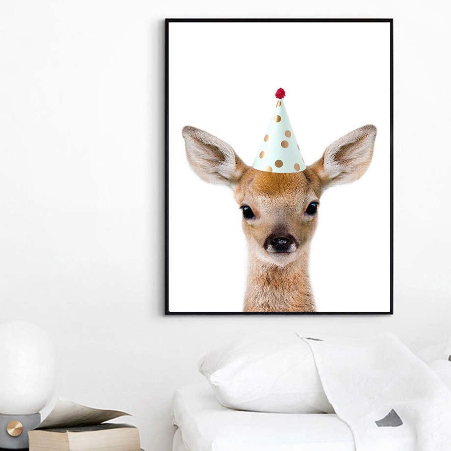 Deer Dog Cow Cap Wall Art Canvas Painting Nordic Posters And Prints Animal Wall Pictures Kids Baby Room Nursery Home Decor in Painting Calligraphy from Home Garden