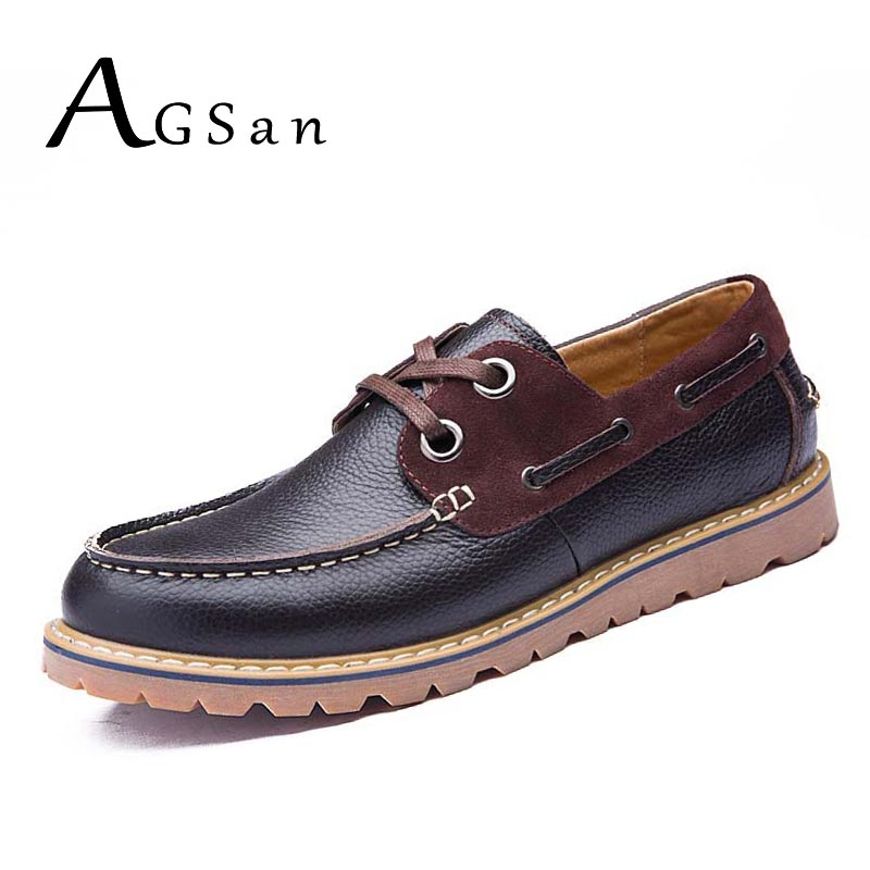 AGSan men boat shoes genuine leather shoes british style business shoes man brown handmade leather casual shoes lace up footwear