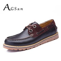 Autumn Winter Men Business Shoes British Gentlemen Boat Shoes Genuine Leather Offie Work Zapatos Brown Blue