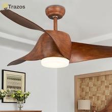 TRAZOS Brown Vintage Ceiling Fan With Lights Remote Control Ventilador De Techo 220 Volt Bedroom Light Lamp LED Bulb