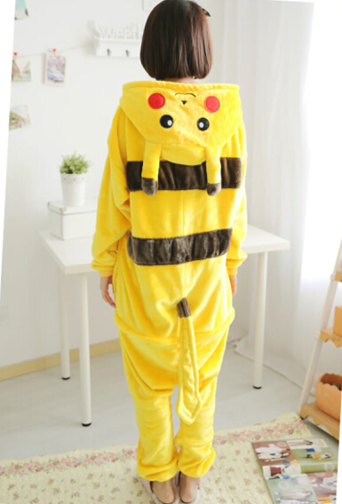 Super cute 1pc cartoon flannel anime pikachu One-Pieces nightgown creative winter warm home coat girl clothes woman gift
