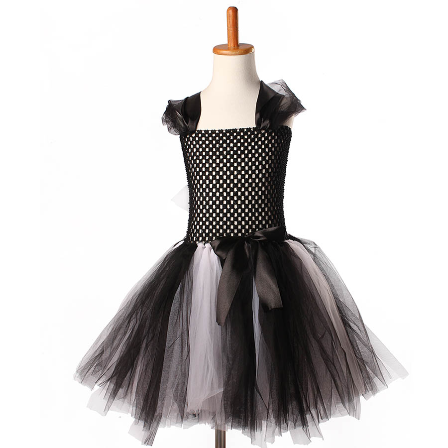 Girls Halloween Carnival Party Tutu Dress Kids Evil Witch Costume Photo Prop with Witch Hat  (11)