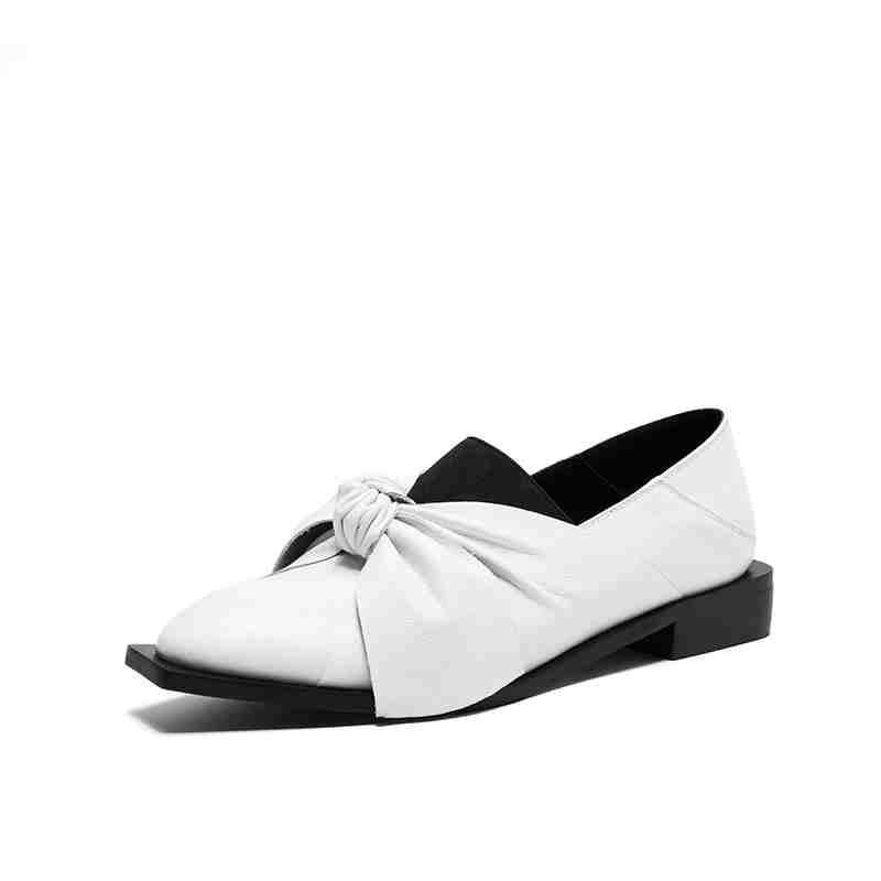 Zapatos Negro Marca En Tamaño Sólido Las Krazing Olla L01 Plus Mujer blanco Nueva Mariposa Cuero Color Grano De Resbalón Completo Vintage Mujeres nudo wpqC0